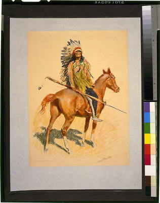 Photo,A Sioux Chief on horseback,holding spear,1901,Dakota Indian,Remington
