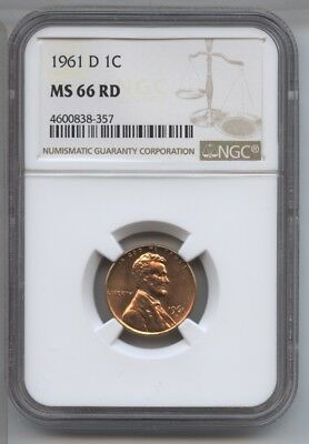 1961-D Lincoln Cent Penny NGC MS 66 RD Certified - Denver Mint AZ350