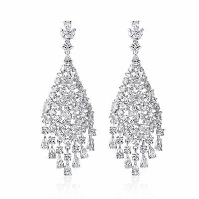 Shiny Silver Tone Sparkling CZ Cubic Zirconia Cluster Large Drop Earrings Fab!