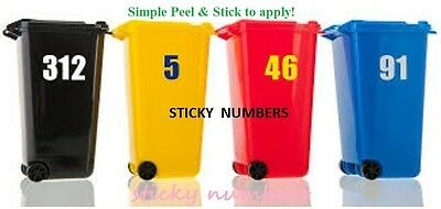 """2 x Wheelie Bin Numbers Stickers Self Adhesive Stick On. Available 6"""" numbers =="""
