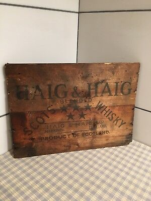 Vintage Haig and Haig Scotch Whiskey Bottle Wood Wooden Crate Side Advertising