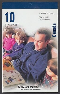 CANADA BOOKLET BK193b 10 x 45c+5c SURCHARGE LITERACY OPEN COVER WITH TI