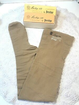 Vintage LASTIGE 60 Stretch Fit Nylon by PRESTIGE Brown Seamed Stockings in Box