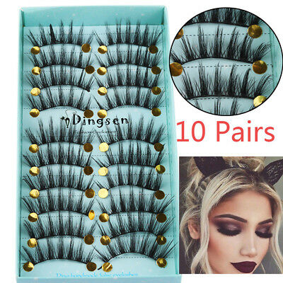 10 Pairs 3D Soft Faxu Mink Hair False Eyelashes Crisscross Wispy Fluffy Lashes