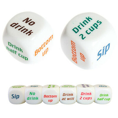 Funny Drink Drinking Sip Dice Roll Decider Die Game Party Bar Club Pub Gift Toy&