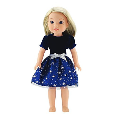 Emily Rose 14 Inch Doll Clothes Clothing   Blue Velvet Party Dress Outfit with  