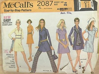 Vintage 60s McCall's Misses' Dress and Pants pattern 2087