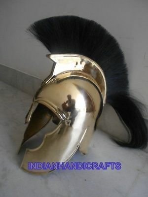 Collectibles Brass Troy Armour Ancient Solid Helmet Black Plume Replica Giftable