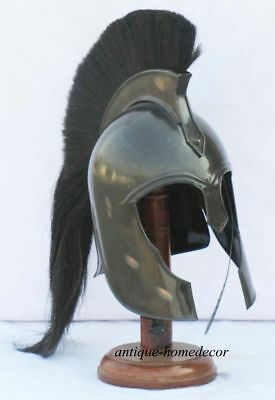 300 Movie King Spartan Greek Troy Helmet Long black Plume With Wooden Stand gift