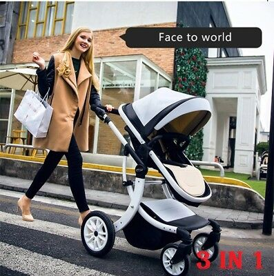 Baby Fabric carriages 3 In 1 Stroller Leather Baby Pram VERY HIGH QUALITY