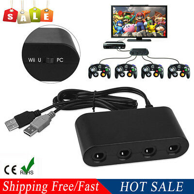 AU MAYFLASH 4 Ports GameCube Controller Adapter for Switch Wii U & PC USB New