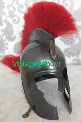 Medieval Knight Halloween Troy Armour Helmet With Red Plume Reproduction Replica