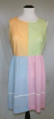 Vintage Montgomery Ward Dress 26 1950s 1960s Gingham Print Rockabilly