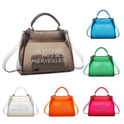Women Transparent PVC Clear Alphabet Jelly Bag Tote Casual Handbag Messenger Bag