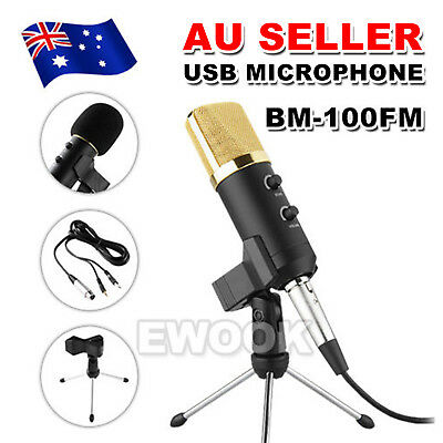 USB Condenser Microphone Studio Tripods Stand Audio Broadcasting Sound Recording