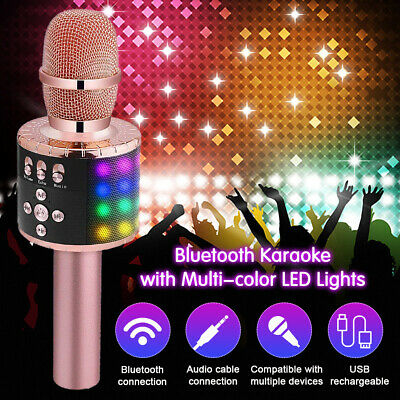 Wireless Bluetooth Microphone Speaker KTV Karaoke Color Light For iPhone Android