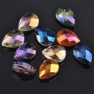5pcs Heart Teardrop Faceted Crystal Glass Loose Spacer Beads Jewelry Findings