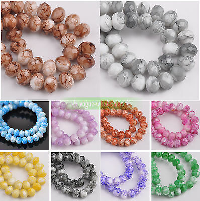 Bulk 6mm/8mm/10mm Colorful Rondelle Faceted Crystal Glass Loose Spacer Beads NEW