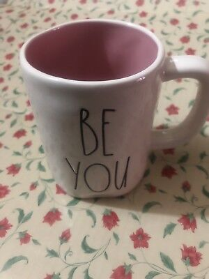"""Rae Dunn Dunn Large Letters by Magenta """"BE YOU """" Mug Cup Pink Inside"""