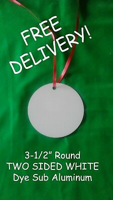 "3.5"" ROUND, CHRISTMAS ORNAMENT- 2 SIDED SUBLIMATION BLANKS - 50PCs Free Shipping"