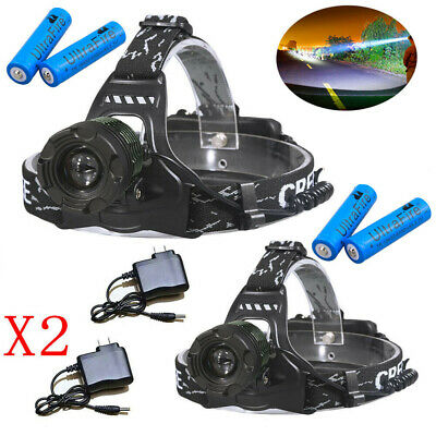 90000LM Zoomable Headlamp T6 LED Headlight Flashlight +Charger+18650 Battery UK