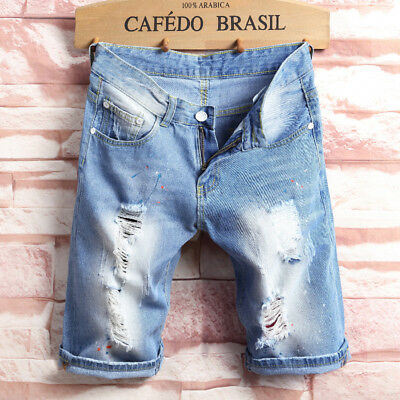Men's Skinny Runway Straight Short Denim Pants Destroyed Ripped Jeans Shorts AU