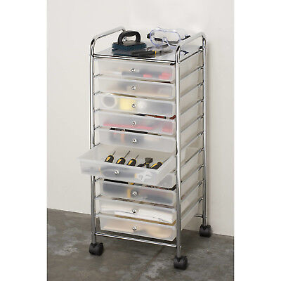 Large 10 Clear Drawer Organizer Storage Metal Rolling Cart , Frosted White