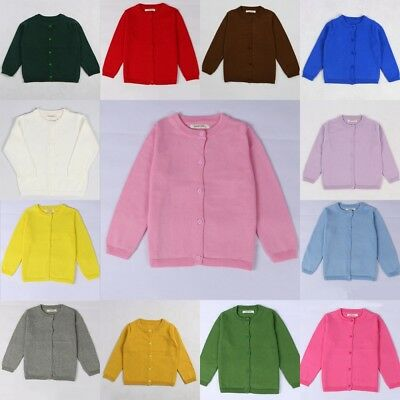 Kids Toddler infant Knitted Cardigan 15 Colours Long Sleeves Sweater JUMPERS UK