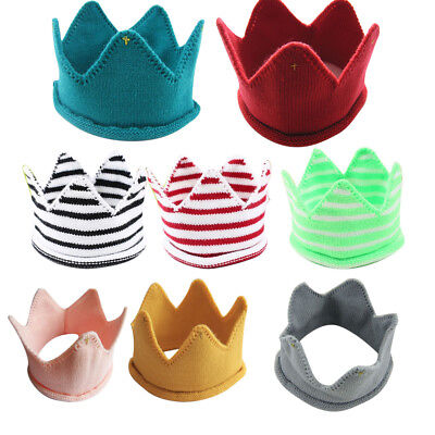 Baby Toddler Kids Boys Girls Crown Knitted Crochet Hat Winter Warm Cap Headband