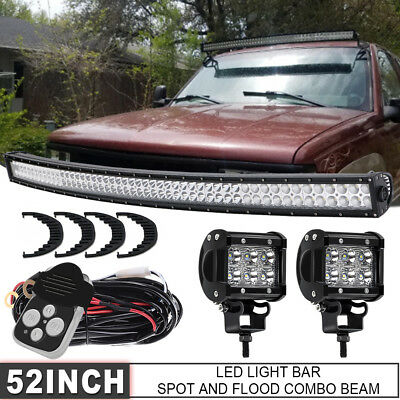 Curved Offroad 700W 52inch LED Light Bar Flood Spot Combo Truck Roof Driving 4WD