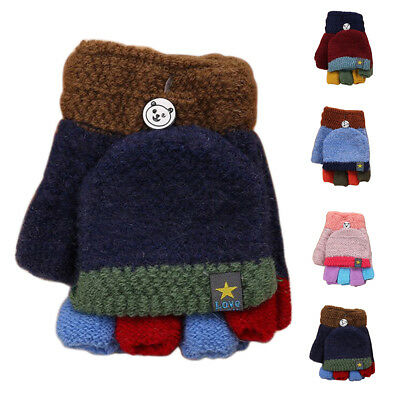 Kids Baby Girl Boy Warm Knitting Wool Gloves Half Finger Thicken Mittens 1 Pair