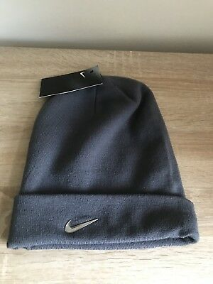 Nike Metal Swoosh Soft Light Stretch Knitted Beanie / Hat, New - Dark Grey