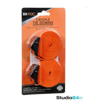 RAC 2.5m Quick Release Non slip Buckle Tie Down Straps Ideal for Cars Trucks etc