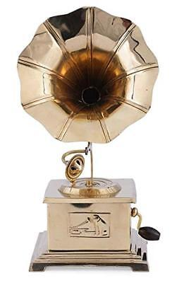 Indian Handmade Gramophone Showpiece Wooden Brass Vintage Style Decor