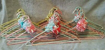 Lot 37 Vtg Crochet Covered Hangers Handmade Variety of Colors w/bows Pretty!