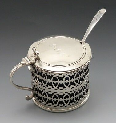 Antique 1910 English Sterling Silver & Cobalt Glass Liner Mustard Pot w/ Spoon