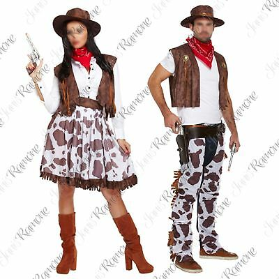Adults Cowboy Cowgirl Rodeo Fancy Dress Womens Mens Wild West Costume Outfit