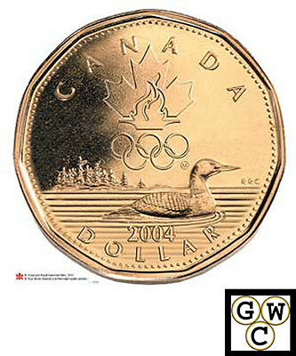 2004 Uncirculated Lucky Loonie $1 Aureate (Olympic Flames) (11029)