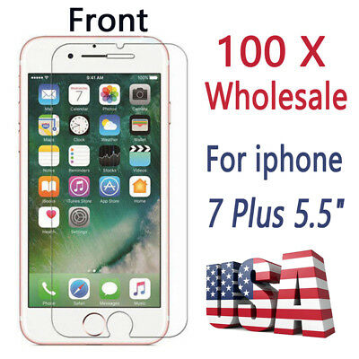 100x Wholesale Lot Bulk Tempered Glass Screen Protector for Apple iPhone 7 Plus