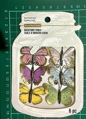 Recollections Embellishments Backyard Table 6Pc ~Butterflies Code 535619