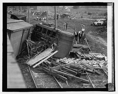 Photo:Railroad wreck,Disaster,Train Wreck,1922,RR,1