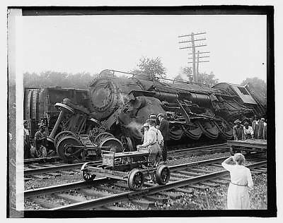 Photo:Railroad wreck,Disaster,Train Wreck,1922,RR,9