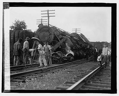 Photo:Railroad wreck,Disaster,Train Wreck,1922,RR,2