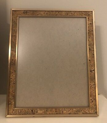 Mid-Century Modern 8 by 10 Brass & Cork Picture Frame,Tabletop/Wall Hang,Vintage