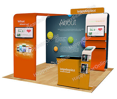 Trade show A11 Display exhibition booth 10ft (TV stand, Display shelves, Header)