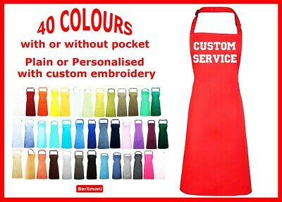 Personalised embroidered apron 40 colours name text logo birthdays kitchen chef