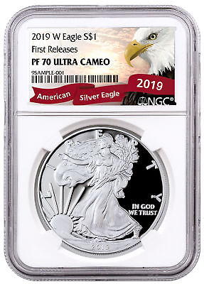 2019 W 1 oz Proof American Silver Eagle $1 NGC PF70 UC FR Eagle Label SKU56245