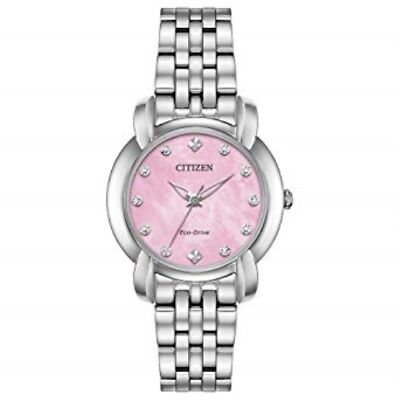 New Citizen Eco-Drive Jolie 30Mm Pink Mother Of Pearl Diamond Dial Em0710-54Y
