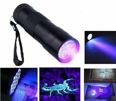 Super Mini Aluminum Ultra Violet 9 Led Flashlight Blacklight Torch Light Lamp UV