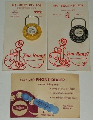 Lot 1970s MA-BELL Key Fobs KEYCHAINS Tag-Master PHONE DIALER New